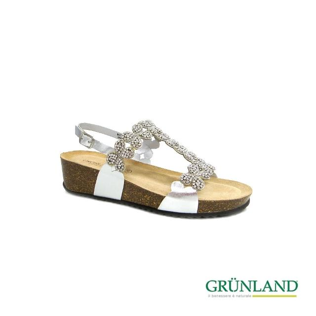 【GRUNLAND】義大利彩晶手工造型軟木乳膠彈力涼拖鞋 奢華銀(義大利進口健康舒適鞋)