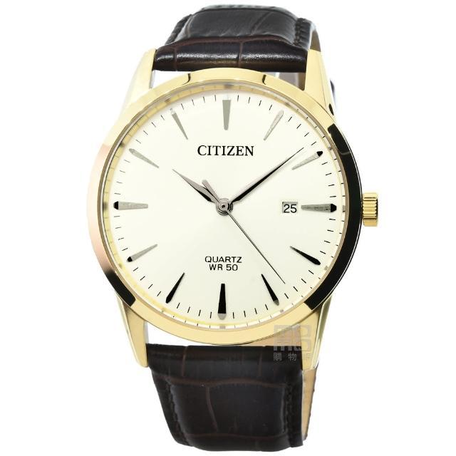 【CITIZEN 星辰】星辰簡約風格石英皮帶錶-白面金框(BI5002-14A)