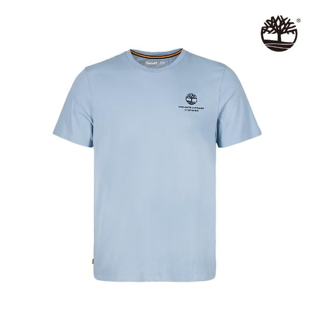 【Timberland】男款藍灰色有機棉品牌故事圖案短袖T恤(A24SZG29)