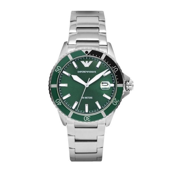 【EMPORIO ARMANI】原廠平行輸入 水鬼系列 綠面簡約 銀殼 不鏽鋼錶帶(AR11338)
