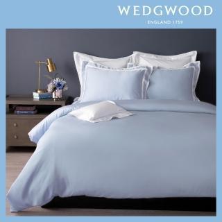 【WEDGWOOD】100%天絲床包兩用被套枕套四件組-簡約灰藍(加大)