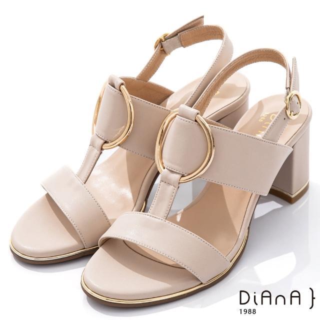 【DIANA】6.5cm羊紋金屬圓環飾釦T字高跟涼鞋-夏日風情(米)