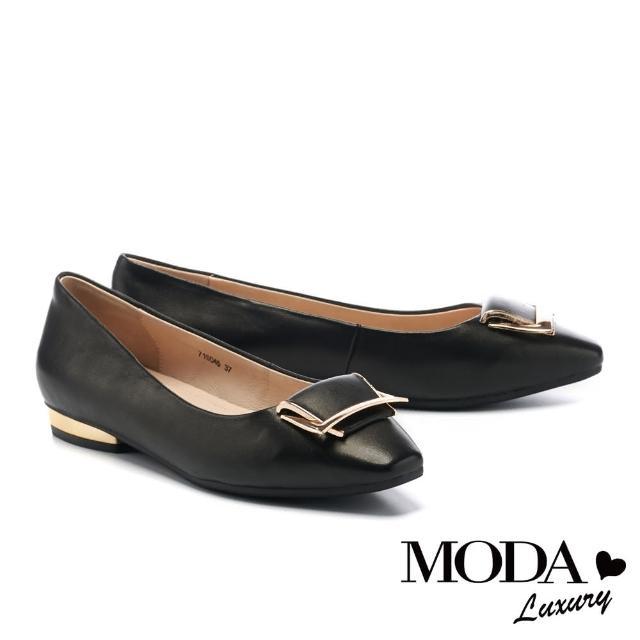 【MODA Luxury】都會典雅金屬梯形釦全真皮小方楦低跟鞋(黑)