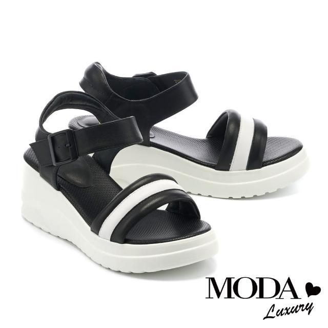 【MODA Luxury】潮感個性休閒撞色牛皮厚底涼鞋(黑)