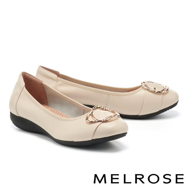 【MELROSE】都會典雅金屬雙圓釦全真皮楔型低跟鞋(米)