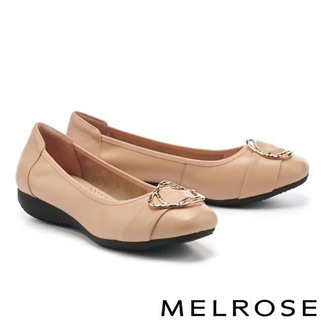 【MELROSE】都會典雅金屬雙圓釦全真皮楔型低跟鞋(杏)