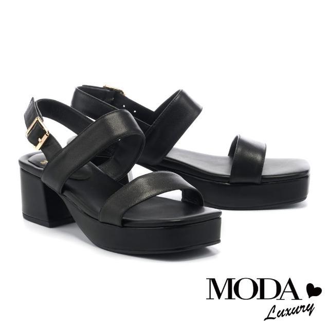【MODA Luxury】簡約俐落一字繫帶牛皮方釦高跟涼鞋(黑)