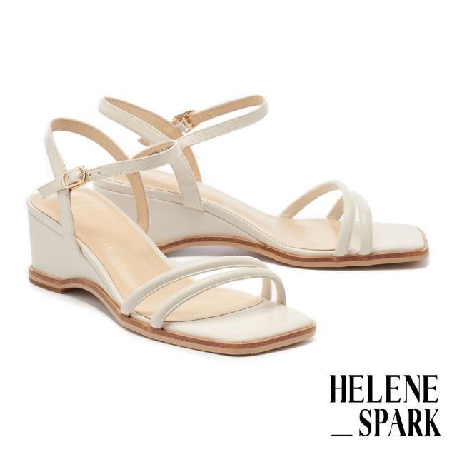 【HELENE SPARK】簡約時尚純色圓滾繫帶方頭楔型高跟涼鞋(白)