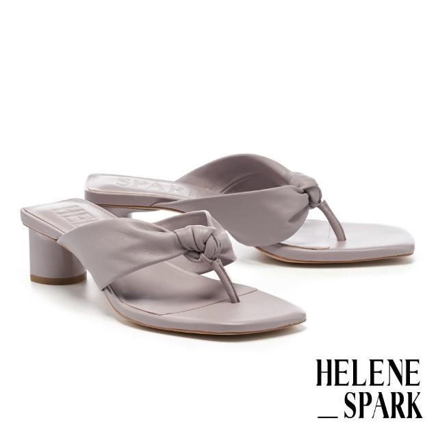 【HELENE SPARK】時髦純色扭結羊皮人字方頭高跟拖鞋(紫)