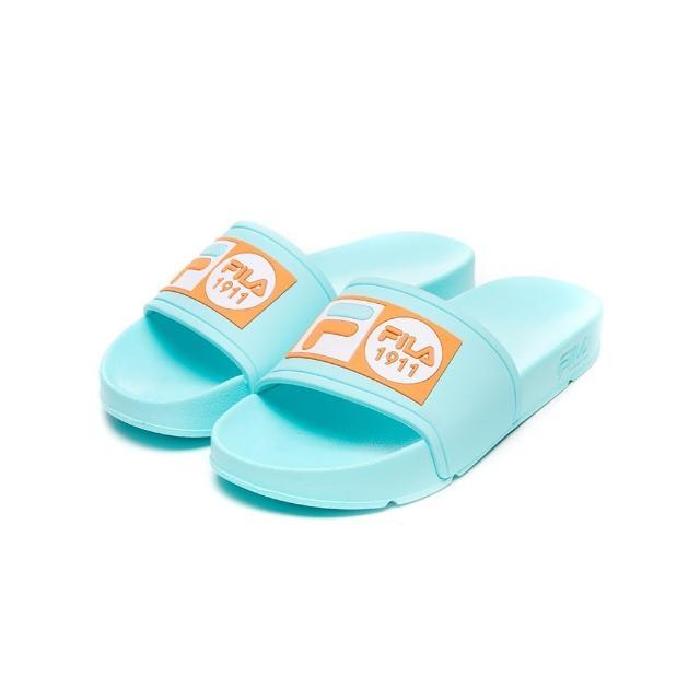 【FILA】拖鞋 POP SLIDE 男女運動拖鞋-藍綠(4-S351V-336)