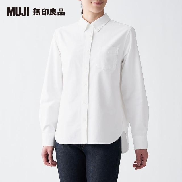 【MUJI 無印良品】女有機棉水洗牛津布扣領襯衫