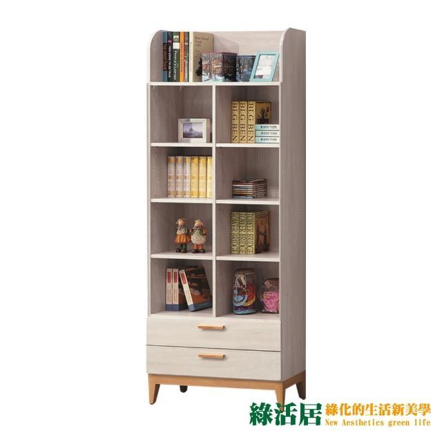 【綠活居】伊森瑪 雙色2.7尺開放式二抽書櫃/收納櫃