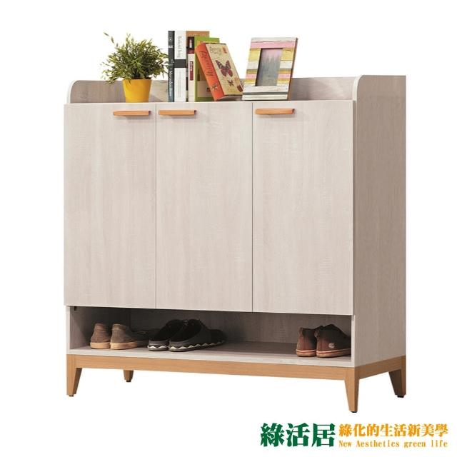 【綠活居】伊森瑪 雙色4尺三門鞋櫃/收納櫃