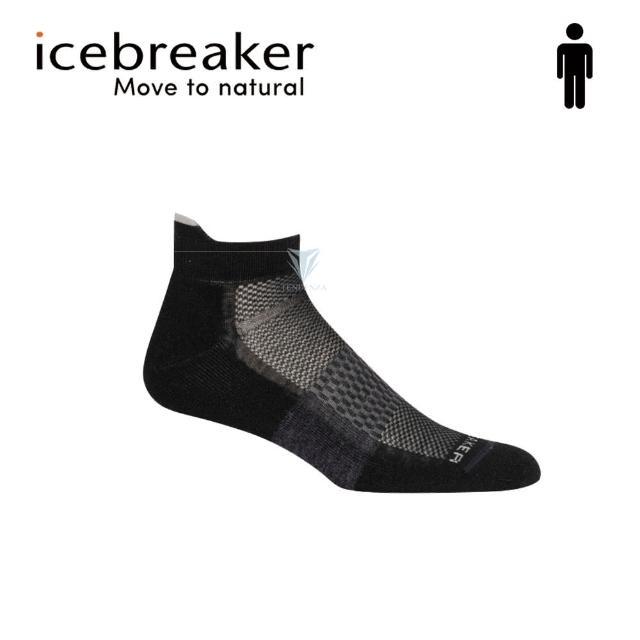 【Icebreaker】男 薄毛圈多功能運動踝襪-黑/灰 IB105129(美國製造/短筒/慢跑襪/美麗諾)