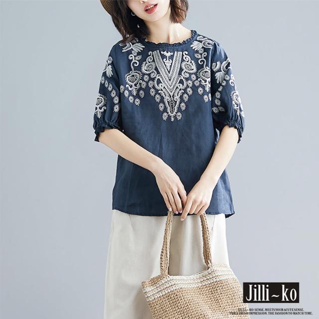 【JILLI-KO】文藝風刺繡棉麻寬版上衣-F(深藍)