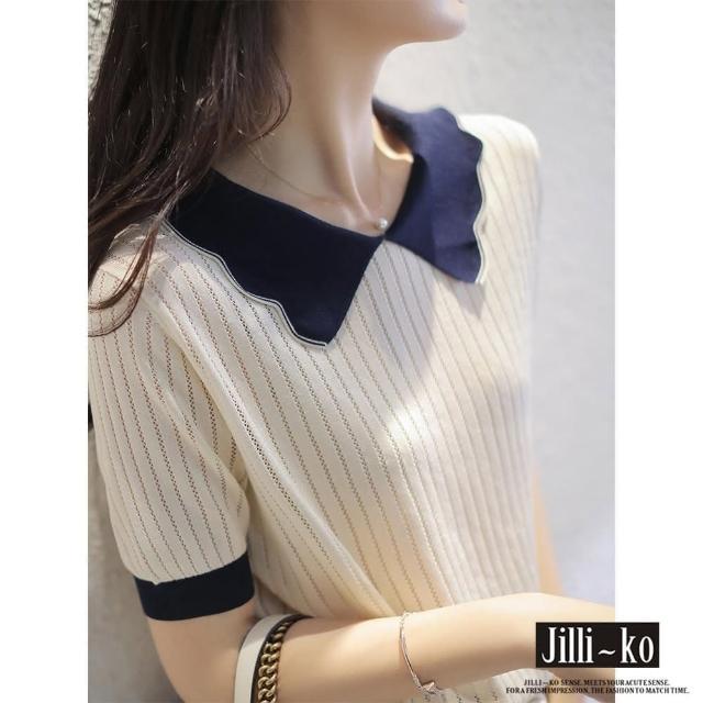 【JILLI-KO】娃娃領花邊冰絲針織衫-F(白)