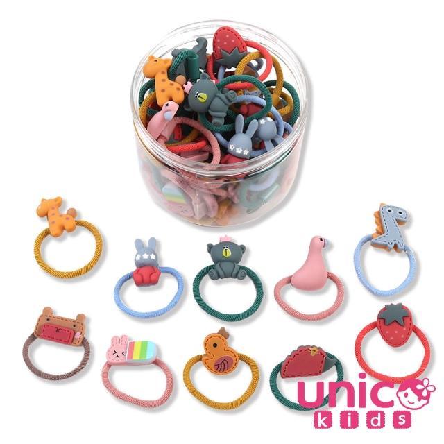 【UNICO】兒童少髮量甜美罐裝髮圈髮繩-20入可愛動物款(組合罐裝)