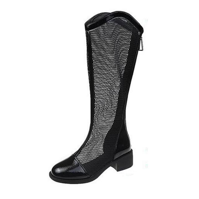 【Taroko】夏季率性網面鏤空長筒涼靴(3色可選)