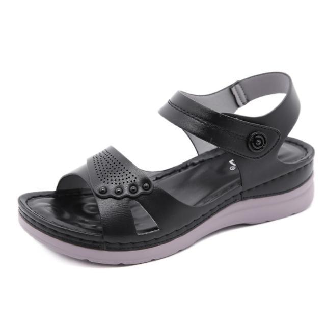 【Taroko】絕對風潮透氣鏤空魔鬼氈厚底涼鞋(3色可選)