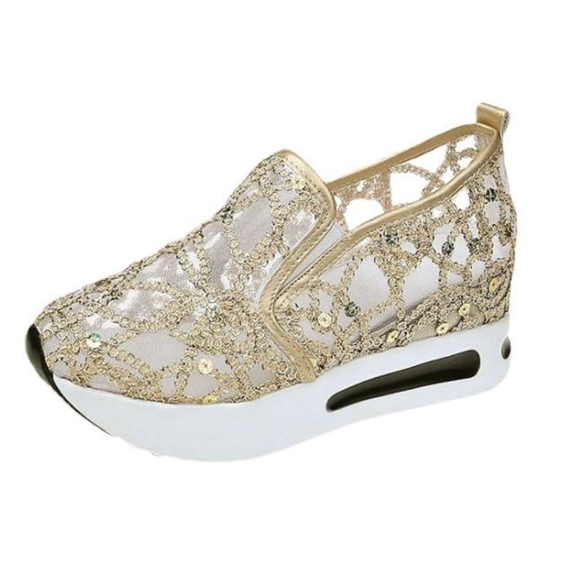 【Taroko】華麗水鑽網紗鏤空厚底休閒鞋(2色可選)
