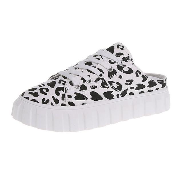 【Taroko】可愛豹紋帆布厚底穆勒鞋(2色可選)