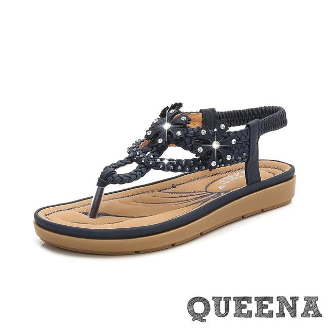 【QUEENA】波希米亞民族風麻花繩編美鑽花朵舒適T字羅馬厚底涼鞋(藏青)