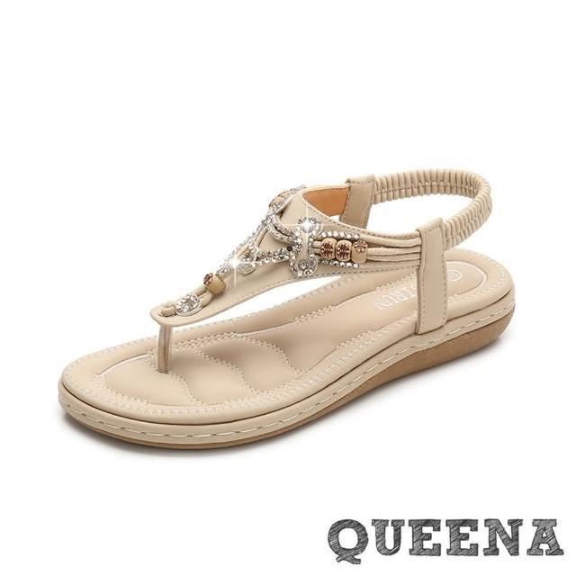 【QUEENA】波希米亞民族風美鑽串珠T字夾腳舒適厚底涼鞋(杏)