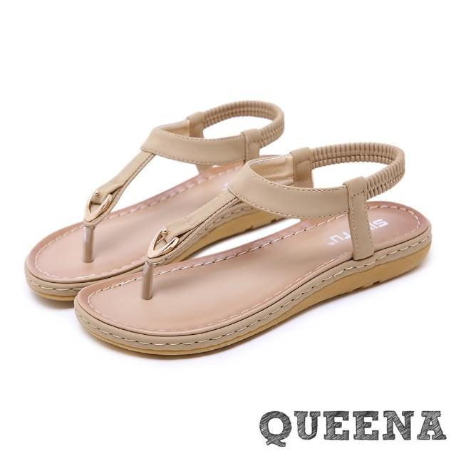 【QUEENA】波希米亞民族風經典T字釦飾夾腳平底羅馬涼鞋(杏)