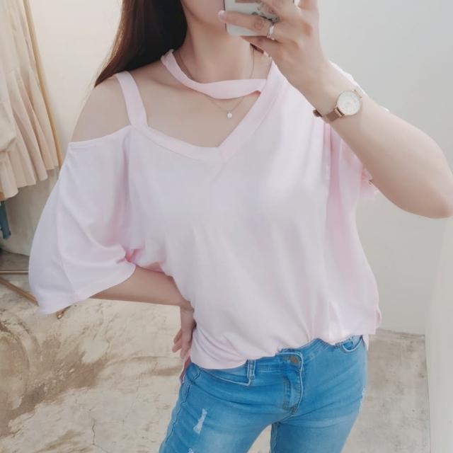 【BBHONEY】純色掛脖氣質V領T恤棉質上衣(網美熱搜款)