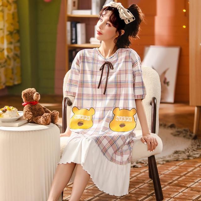 【Secret Lover】圓領格紋綁帶可外穿居家服洋裝SL22061(女短袖可外穿居家服洋裝)