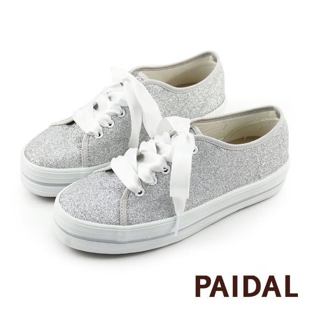 【Paidal】奢華銀緞帶厚底帆布鞋(銀)