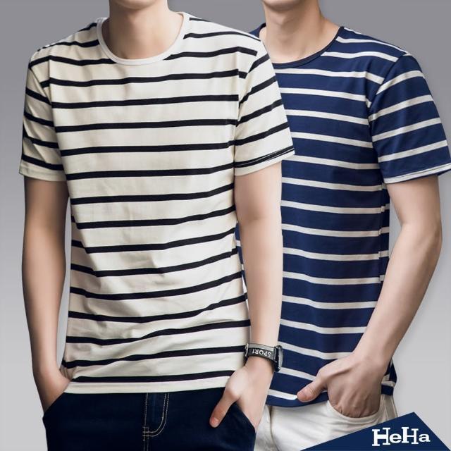 【Heha】上衣 經典條紋雙色短袖T恤(三色)