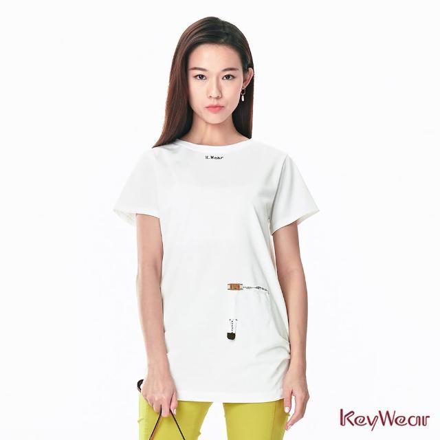 【KeyWear 奇威名品】時尚風格特色標籤設計長版短袖T恤