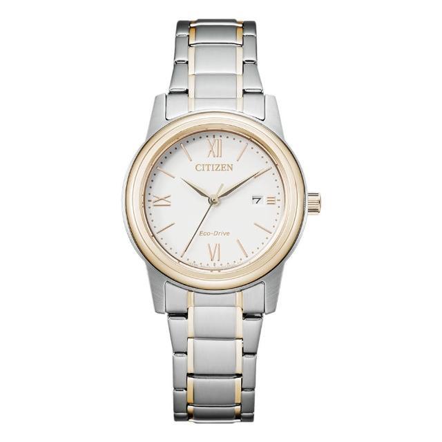 【CITIZEN 星辰】PAIR對錶光動能羅馬數字鋼帶錶-女白面 30mm(FE1226-82A)