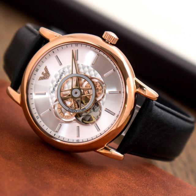 【EMPORIO ARMANI】亞曼尼 公司貨 Luigi 極簡紳士鏤空皮革機械錶/黑x玫瑰金框(AR60013)