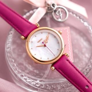 【FOSSIL】公司貨  Carlie mini 真愛甜心珍珠貝皮革腕錶/桃紅x玫瑰金殼 女錶(ES4827)