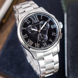 【FOSSIL】公司貨 Monty 都會潮流三眼計時不鏽鋼腕錶/銀x黑面 男錶(FS5637)