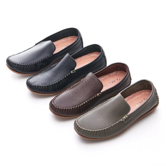 【G.Ms.】MIT情侶系列-專利水洗牛皮深卡口莫卡辛休閒男鞋(全黑色/咖啡/墨綠/黑皮白線)