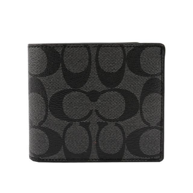 【COACH】經典PVC LOGO 6卡照片短夾(黑灰)