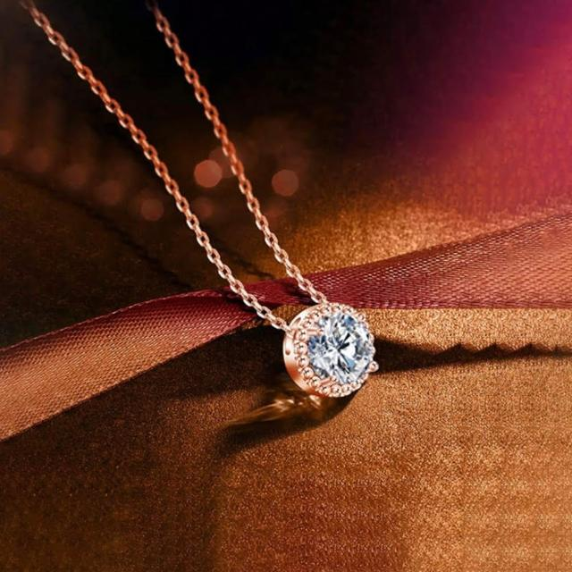 【CReAM】Aurora璀璨施華洛世奇SWAROVSKI鋯石圓鑽單鑽純銀鍍14K金項鍊 玫瑰金(40cm+5cm)