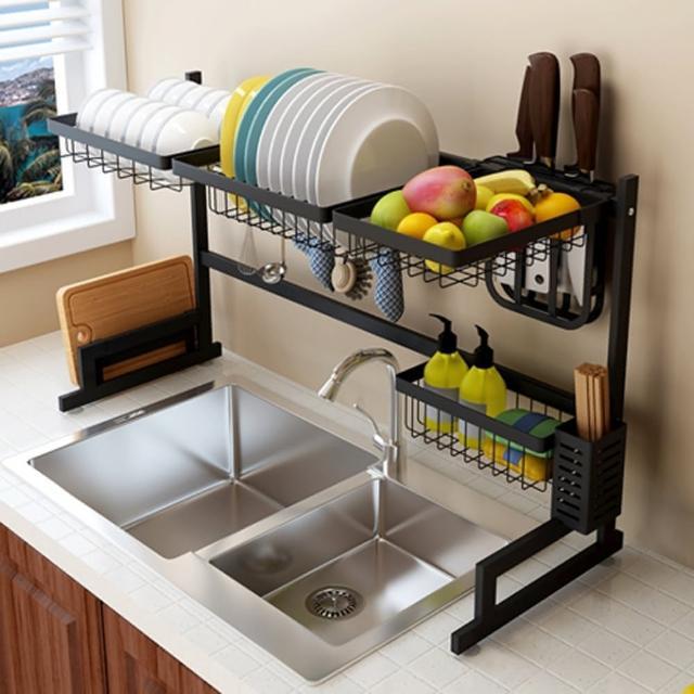 【居家生活Easy Buy】無印風 201不銹鋼碗盤瀝水收納置物架-85CM(碗盤收納架 水槽瀝水架)