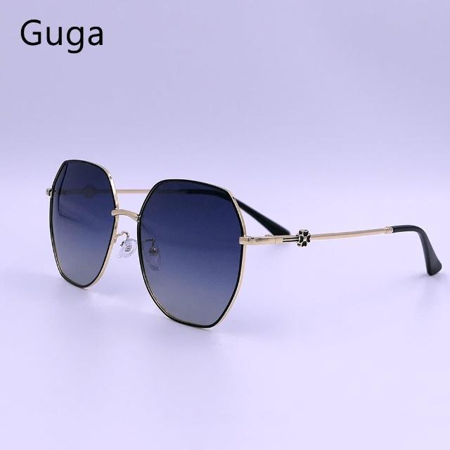 【GUGA】金屬女款偏光太陽眼鏡抗紫外線防眩光3037(金屬典雅偏光太陽眼鏡小花飾片CNS檢驗合格)