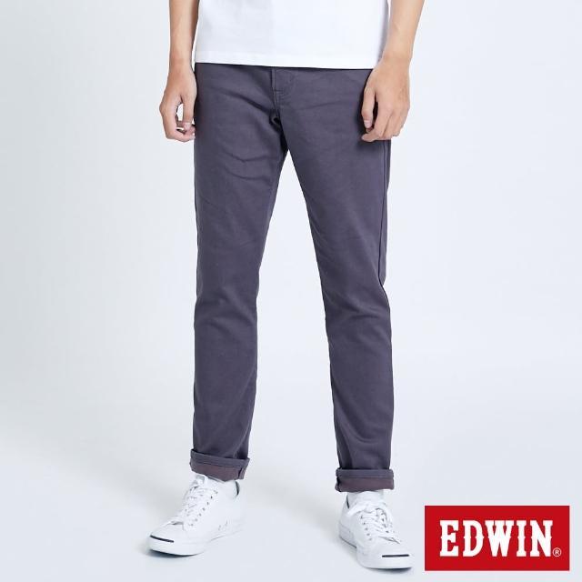 【EDWIN】EDGE皮邊雙袋窄管牛仔褲-男款(灰色)