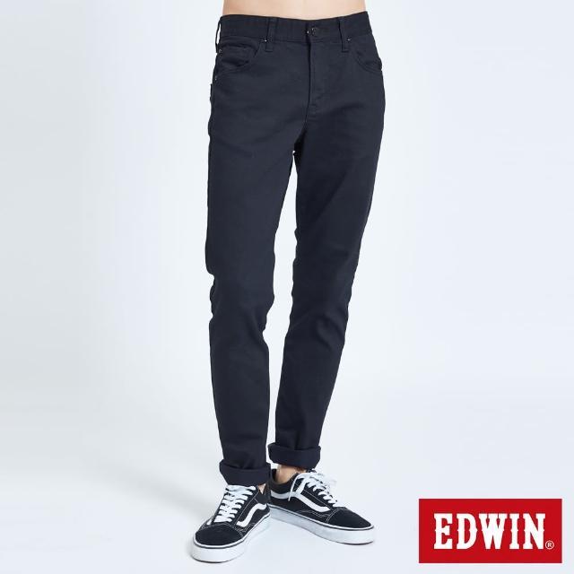 【EDWIN】EDGE皮邊雙袋窄管牛仔褲-男款(黑色)
