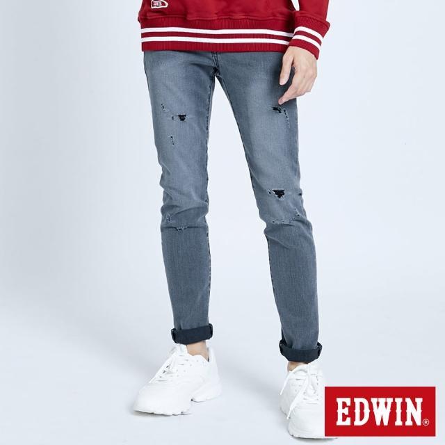 【EDWIN】503 修身微破小直筒褲-男款(灰色)