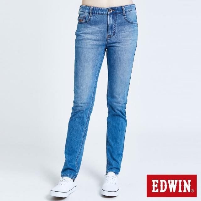 【EDWIN】JERSEYS 迦績EJ7棉錐形長褲-女款(石洗藍)
