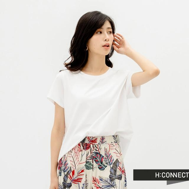 【H:CONNECT】韓國品牌 女裝 -純色後壓褶開衩T-Shirt(白色)