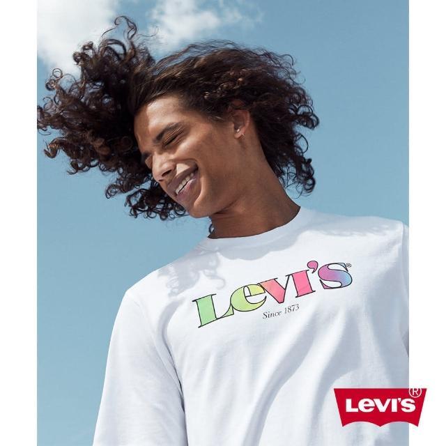 【LEVIS】男款 短袖T恤 / 復古漸層Logo / 寬鬆休閒版型 / 白-熱銷單品