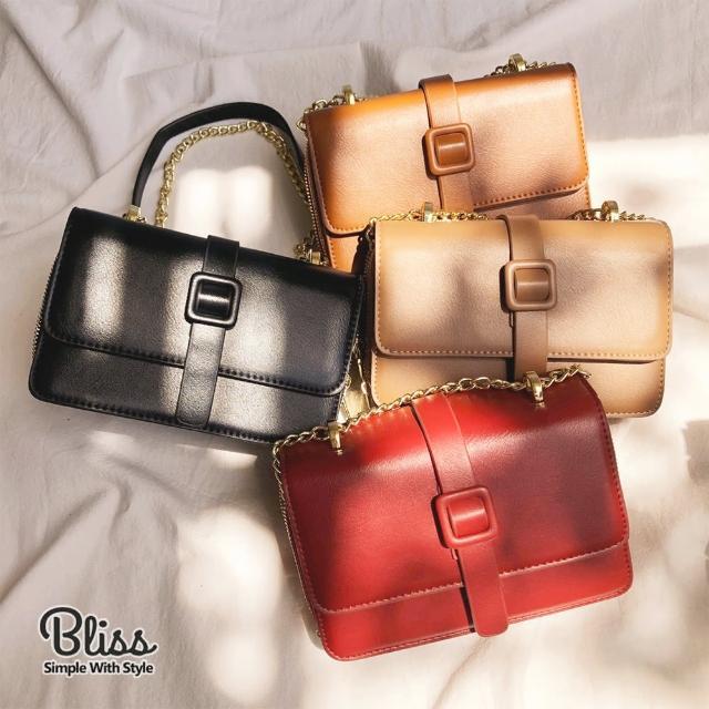 【Bliss BKK】雙磁扣鍊條小方包 手機包 肩背包 隨身包 鍊條包(4色可選 附贈防塵袋)
