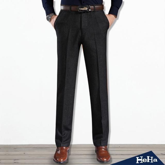 【Heha】男士抗皺內磨毛商務直筒長褲(黑色)